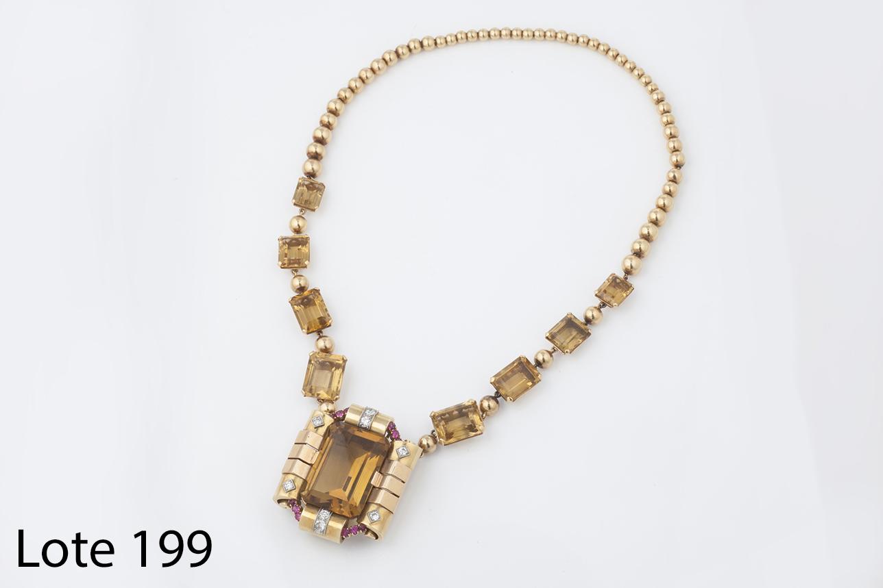 Lote 199_Collar RETRO oro y citrinos, unico. Salida 3.900 euros
